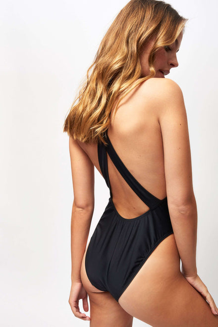 Black Rhinestone Racer Neck Swimsuit