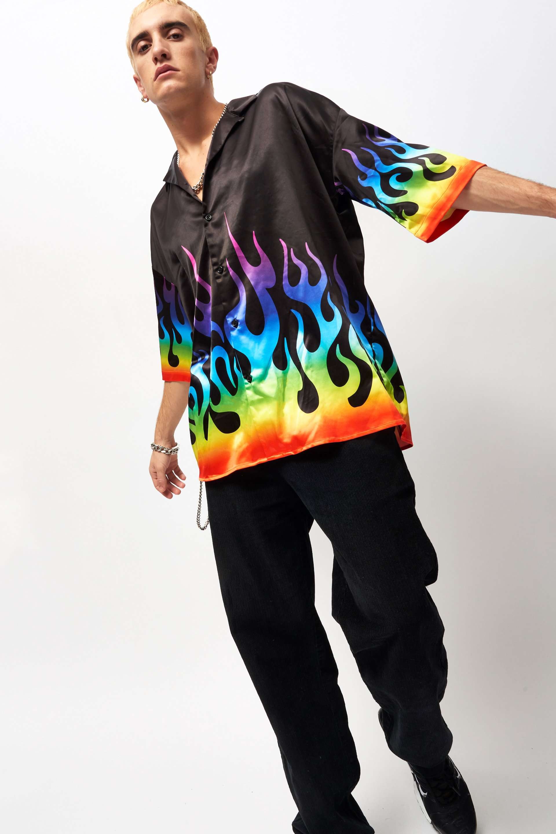 Rainbow Flame Print Short Sleeve Shirt