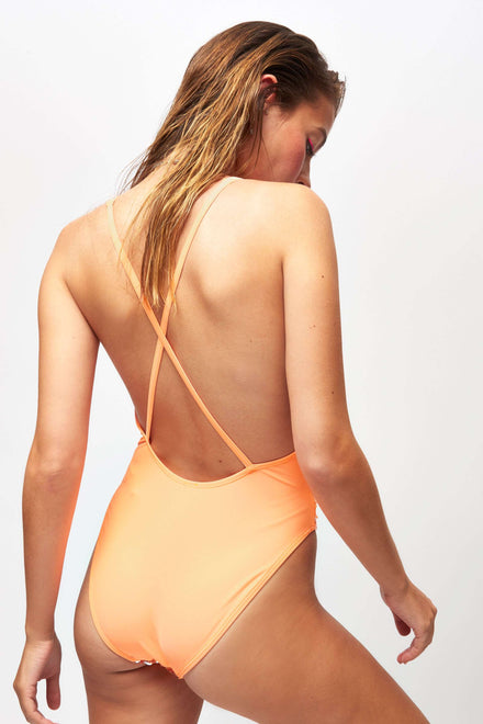 Peach & Silver Flip Sequin Swimsuit