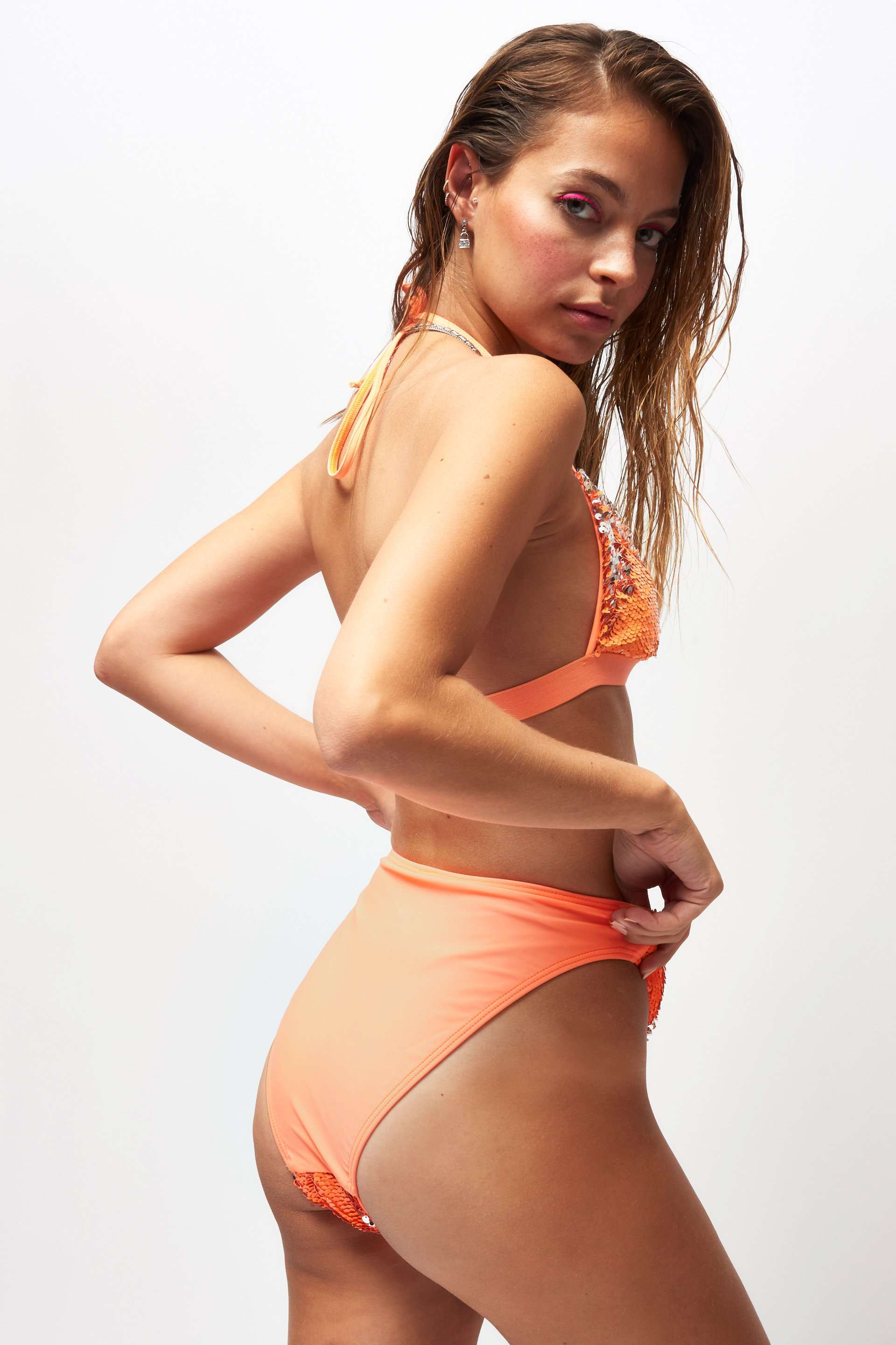 Peach & Silver Flip Sequin High Waist Bikini Bottoms