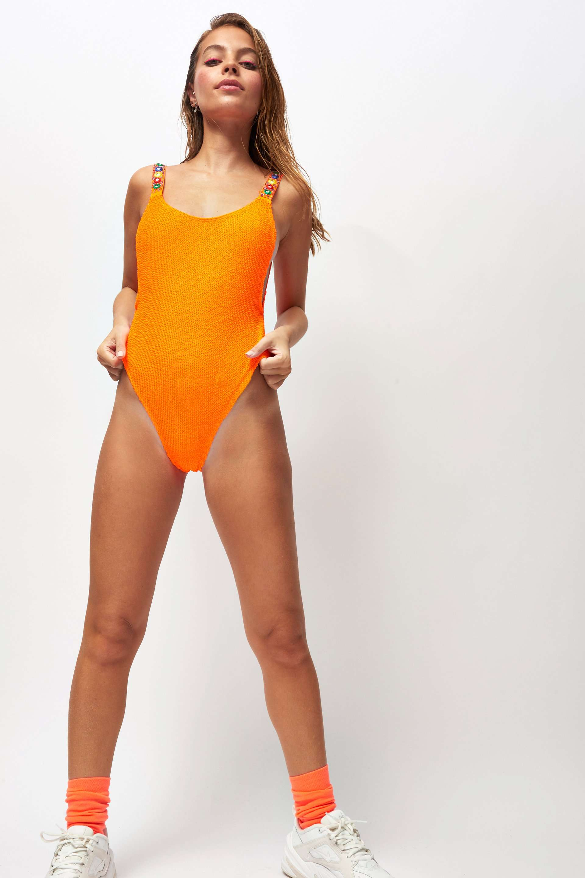 d665f01cc7 Mirror Strap Orange Crinkle High Leg Swimsuit – Jaded London