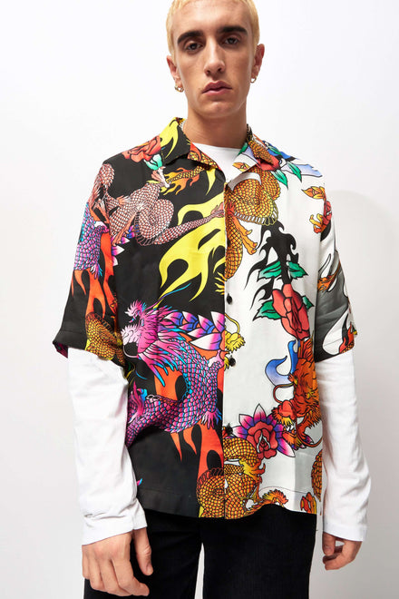 Half And Half Dragon Print Oversized Shirt
