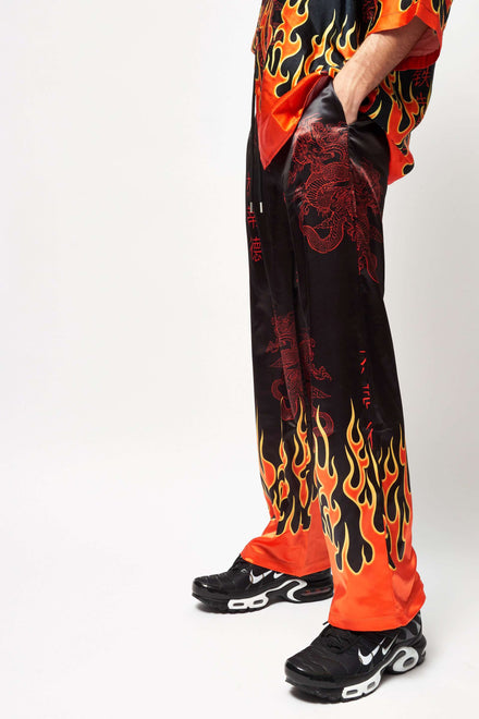 Oriental Flame Print Satin Trousers