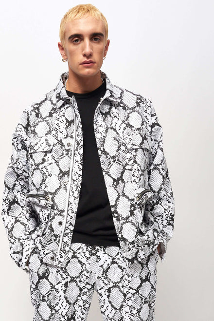 Black & White Snake Print Jacket With Cargo Pockets