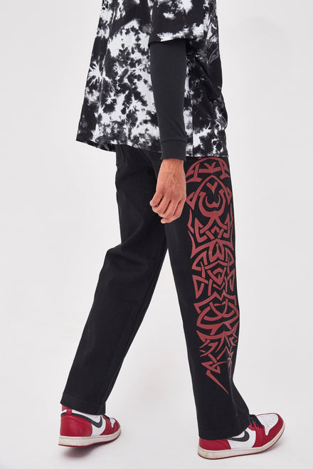 Black Skate Fit Jeans With Red Tribal Detail