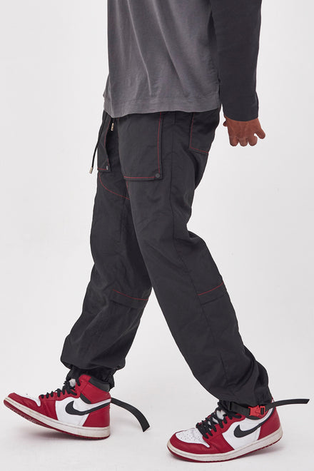 Black Nylon Joggers With Red Stitching Detail