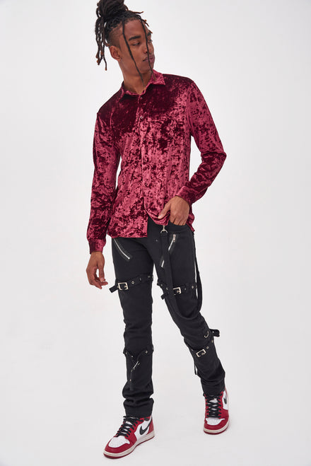 Burgundy Velvet Long Sleeve Shirt