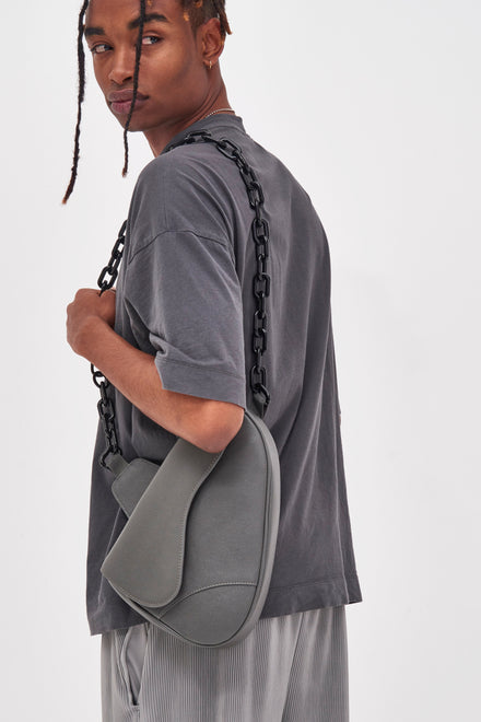 Grey Vegan Leather Saddle Bag