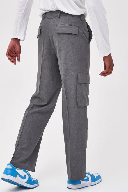Grey Wide Leg Trousers With Utility Pockets