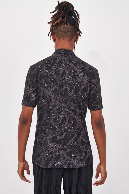 Black Glitter Swirl Short Sleeve Shirt