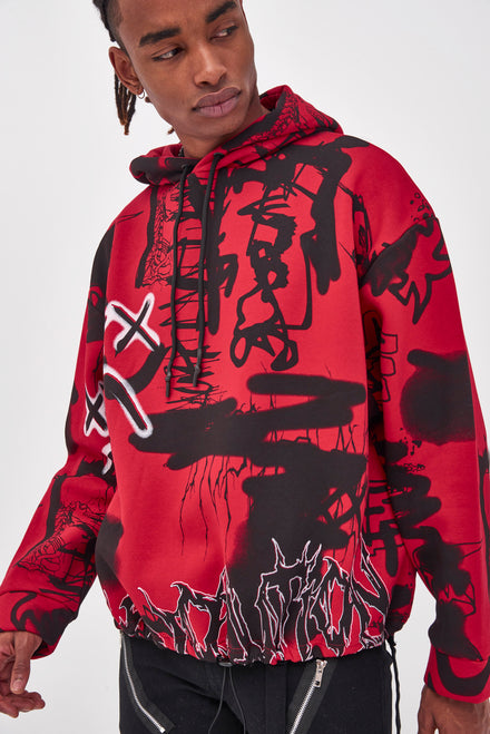 Red & Black Graffiti Print Oversized Hoodie