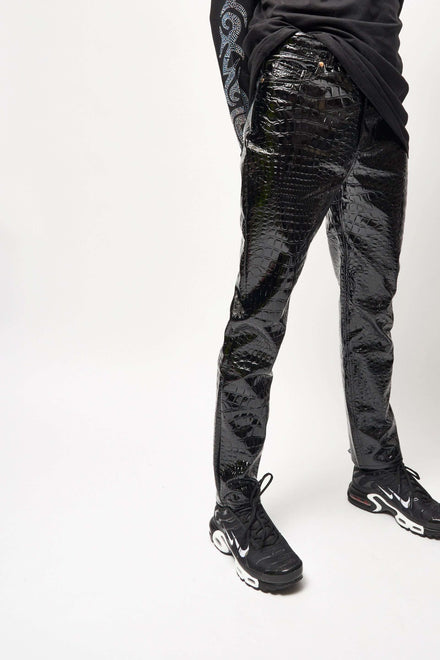 Black Croc PU Trousers