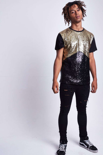 BLACK & GOLD SEQUIN TEE