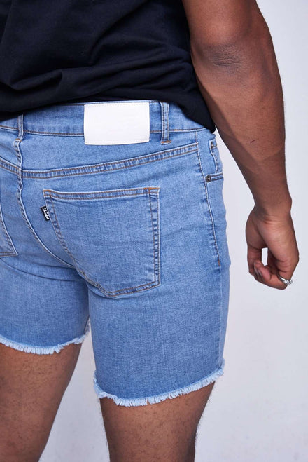 Mid Blue Raw Hem Skinny Denim Shorts