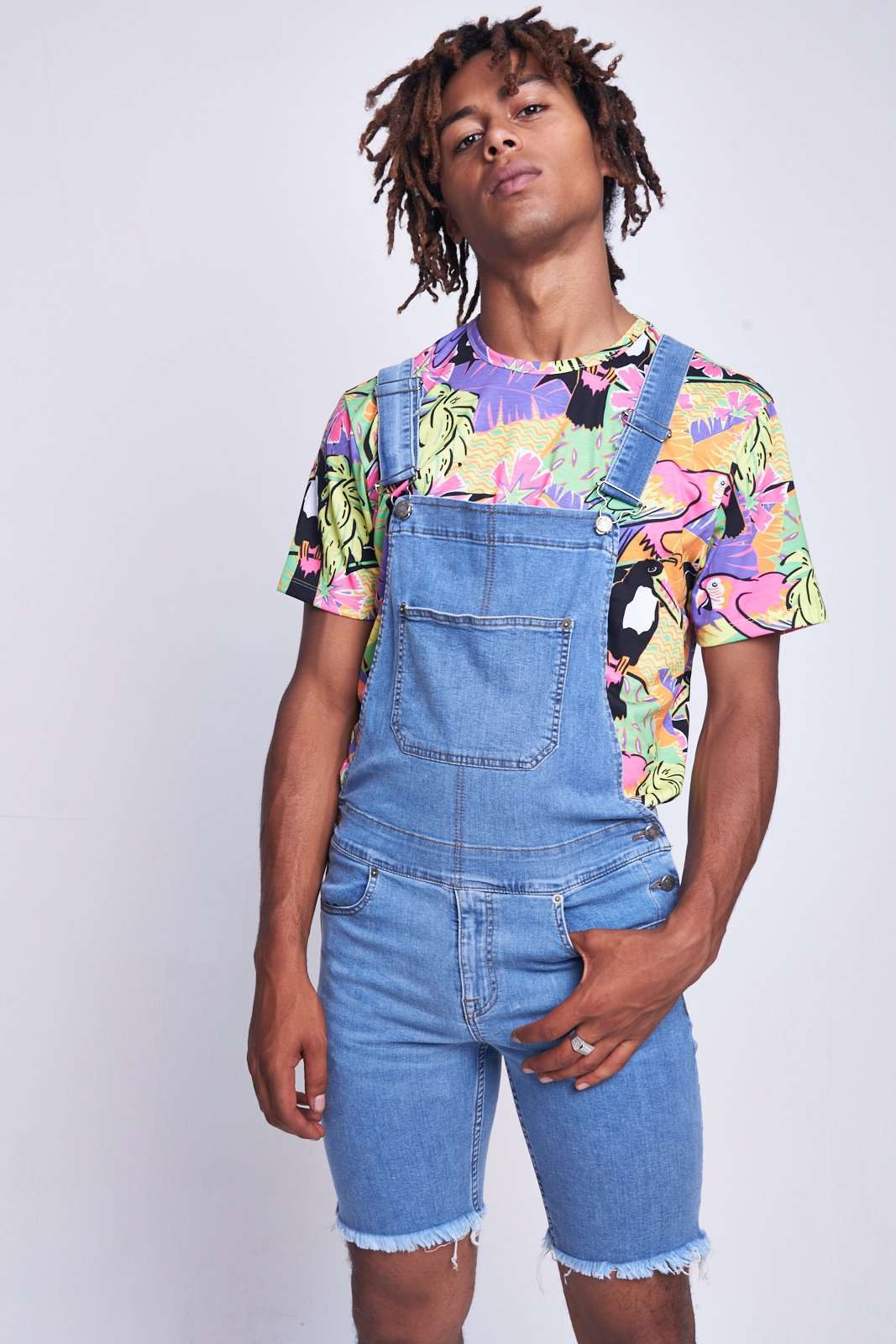 Mid Blue Skinny Short Dungarees