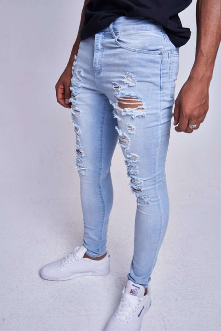 Light Blue Heavy Rip Skinny Jeans