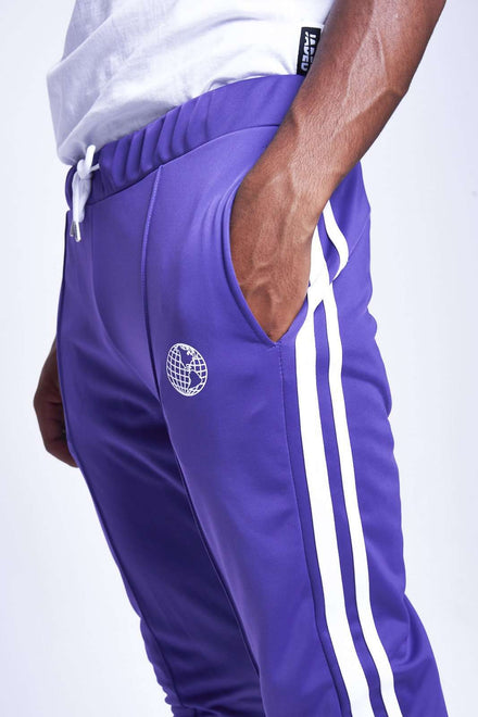 PURPLE JOGGERS WITH WHITE TAPING