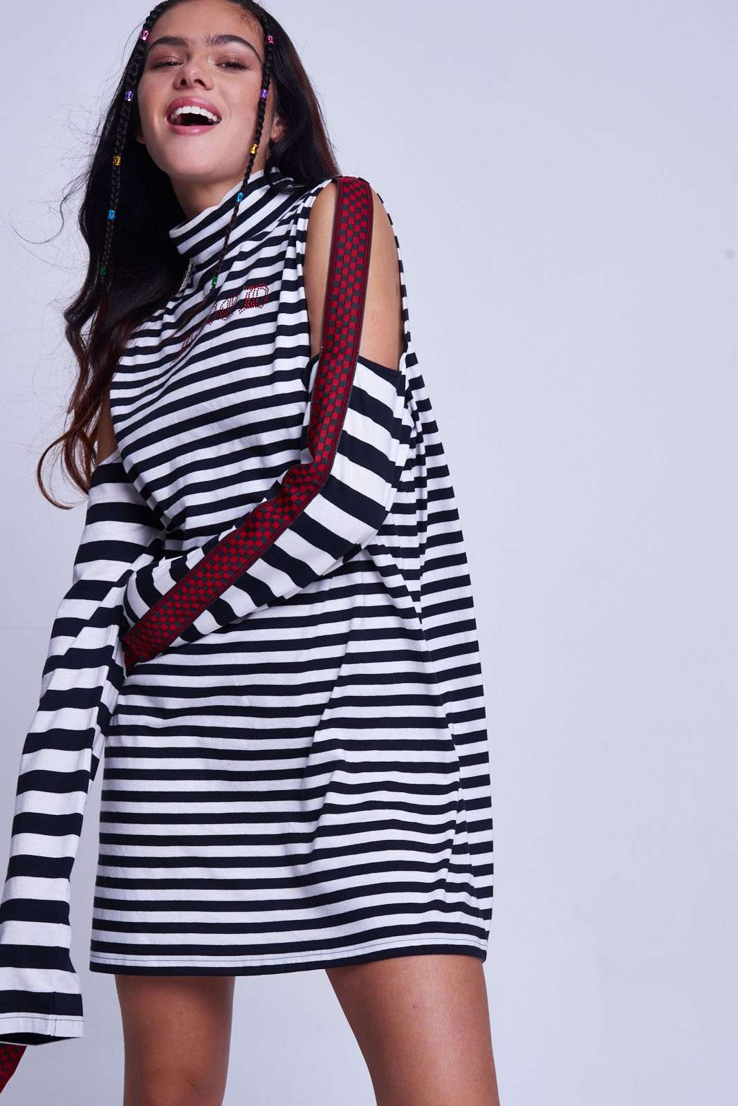 Womens Stripe Cold Shoulder Strap Detail Dress Jaded London Good Selling Cheap Price Cheap Huge Surprise XrwcuV