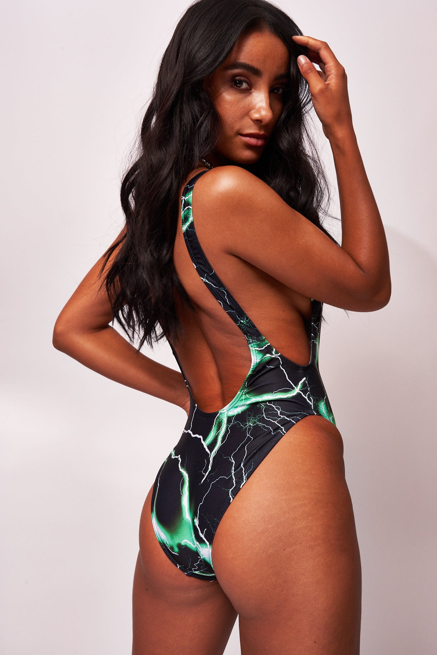 Green Lightning Print Square Neck Swimsuit