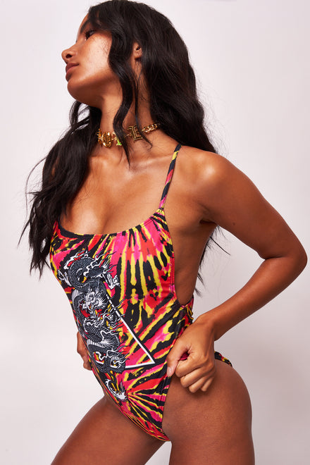 Tie Dye Dragon Print Square Neck Swimsuit
