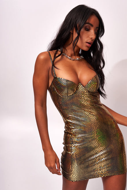 Gold Snake Foil Extreme Cup Detail Dress