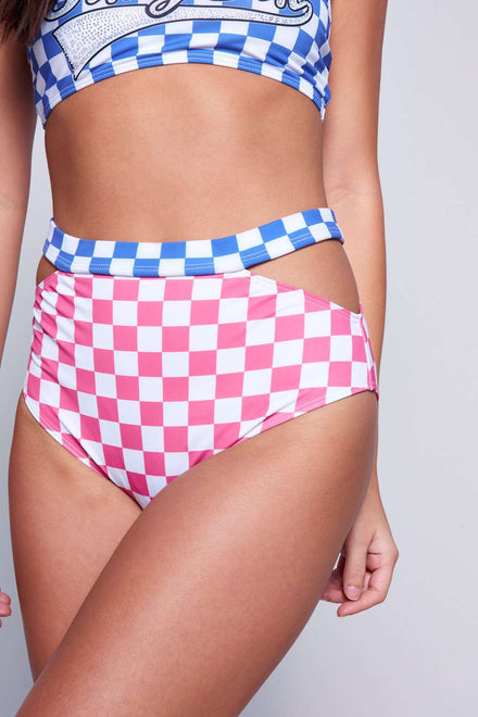 Checkered High Waist Cut Out Bottoms