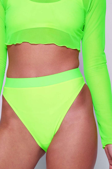 Neon Yellow & Green High Leg Bikini Bottoms