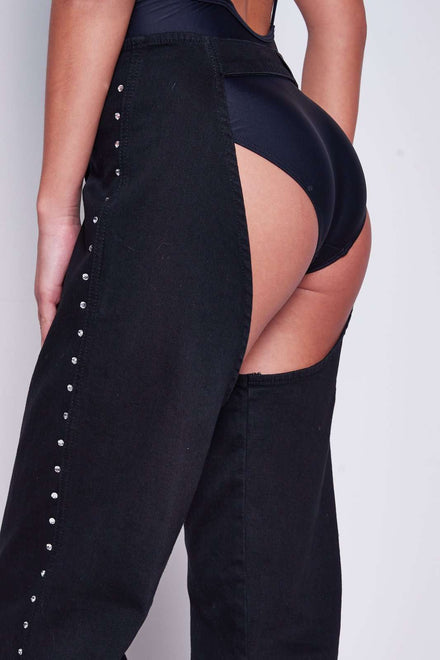 Black Denim Chaps With Diamonte Detail