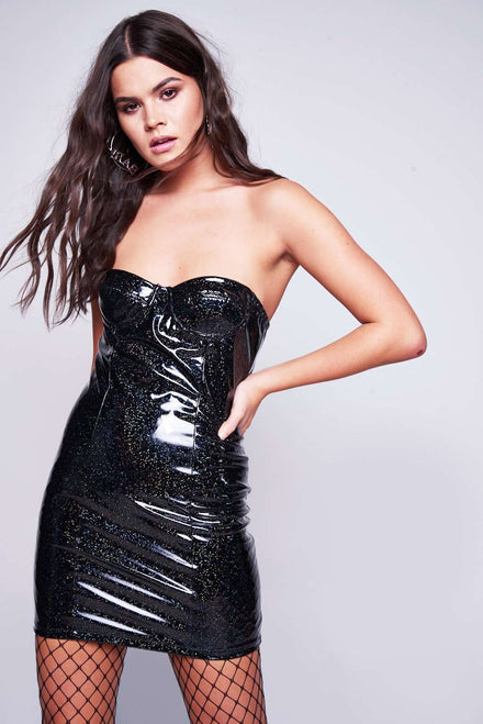 Glitter Vinyl Corset Mini Dress