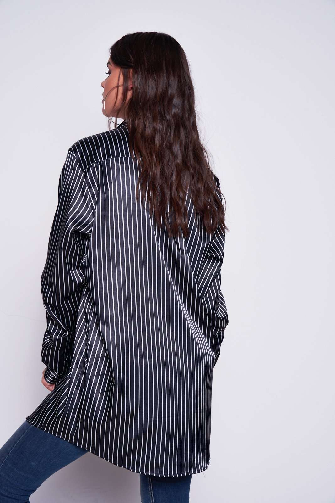 Oversized Pinstripe Shirt With Brooches