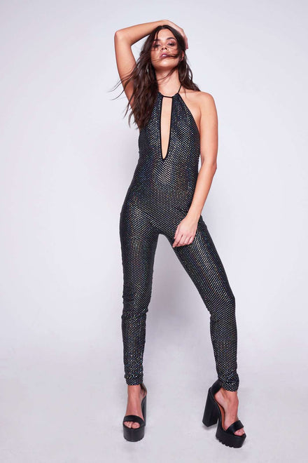 Diamante Sequin Plunge Catsuit
