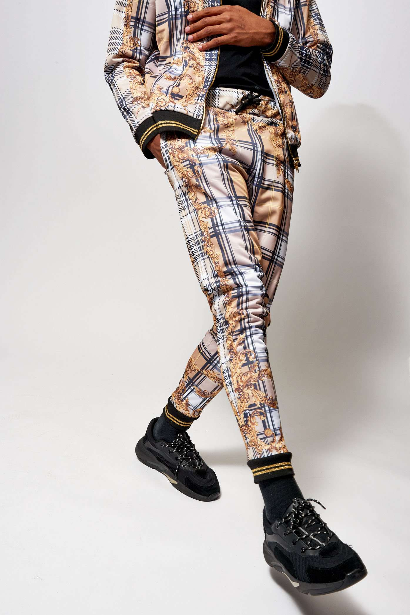Beige Check Baroque Joggers
