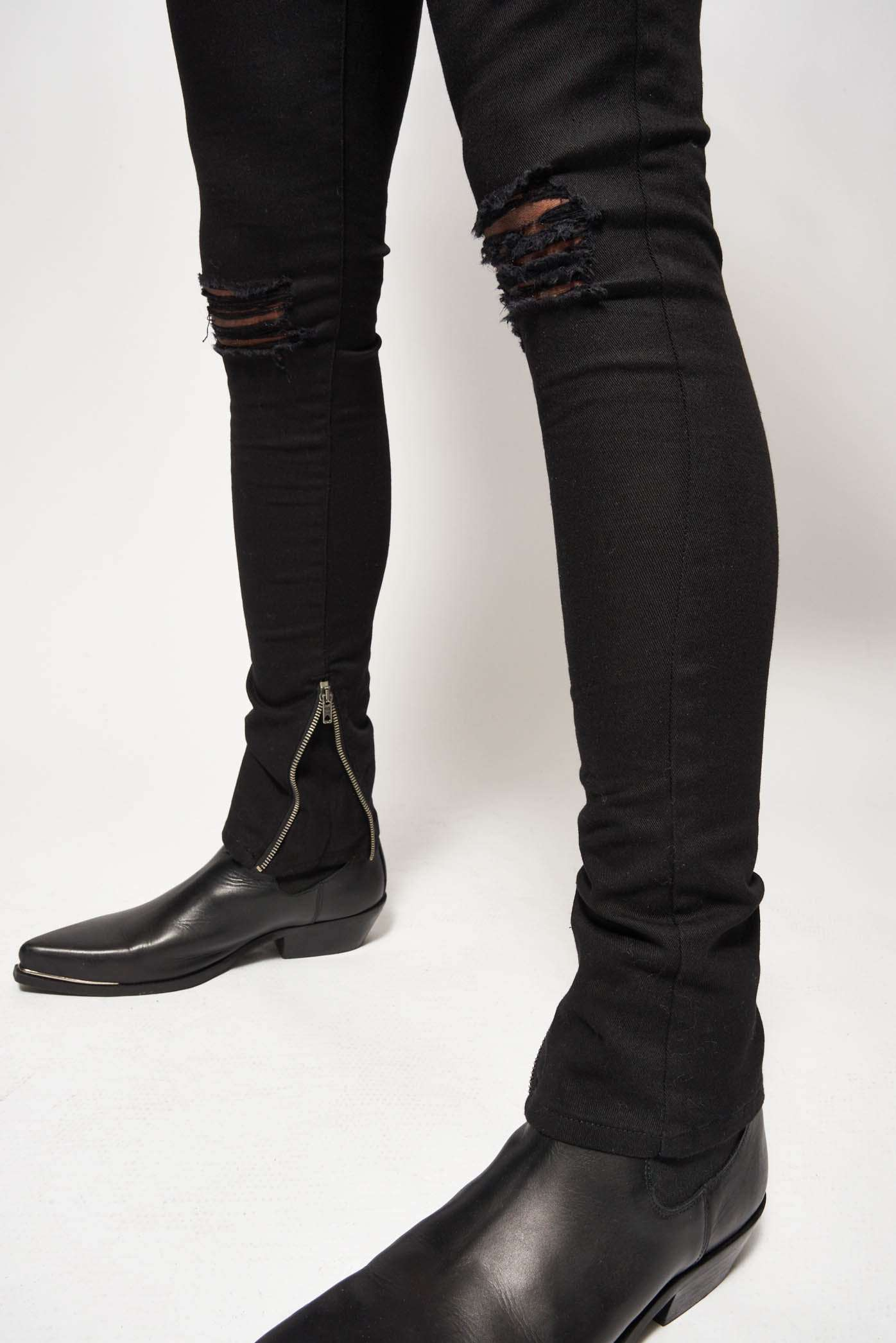 Black Super Skinny Jeans With Rips & Zips