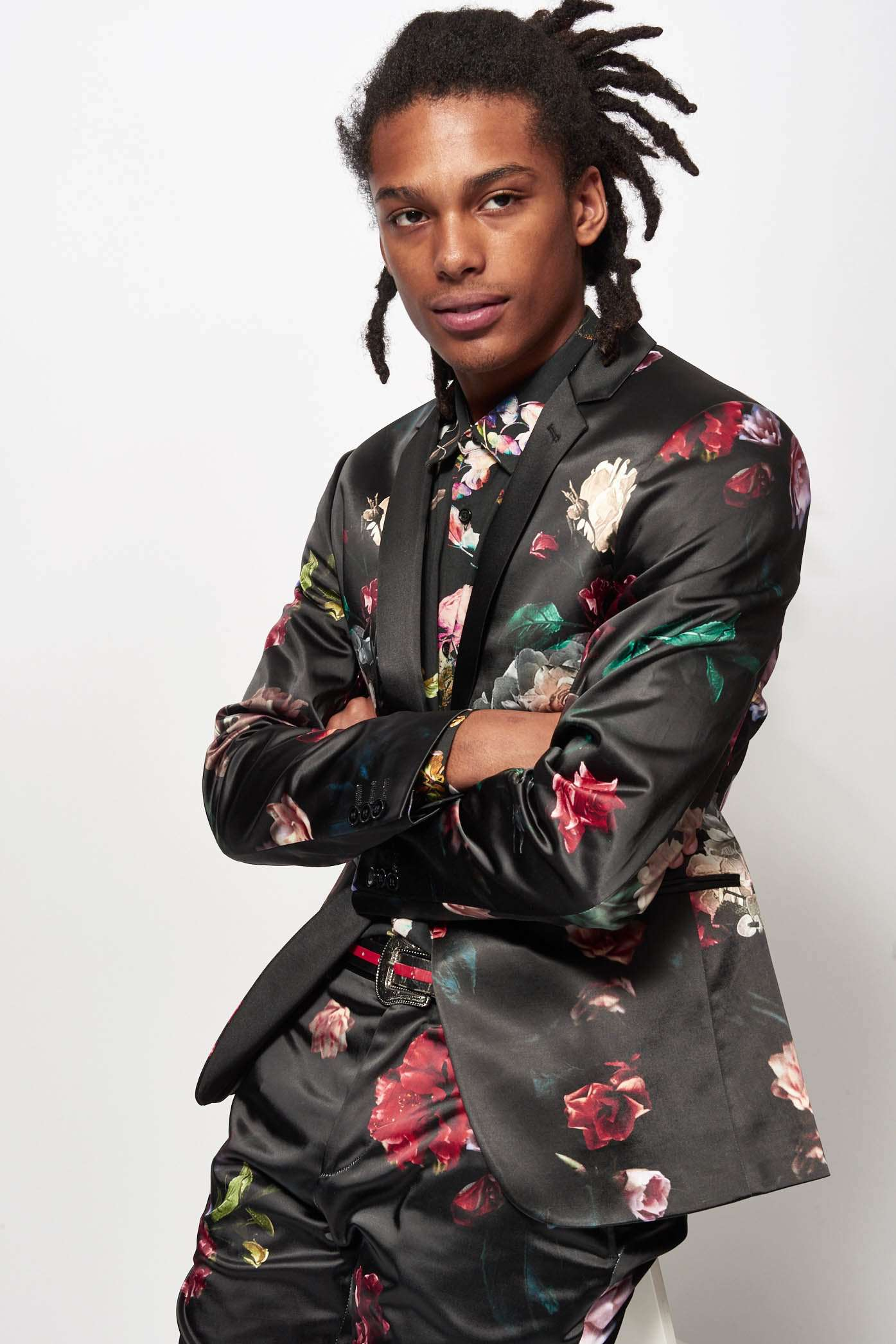 Satin Floral Suit Jacket by Jaded London
