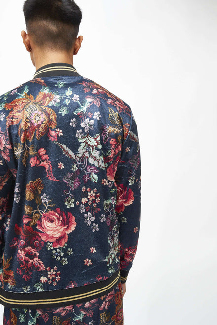Antique Floral Velvet Tracktop With Metallic Rib