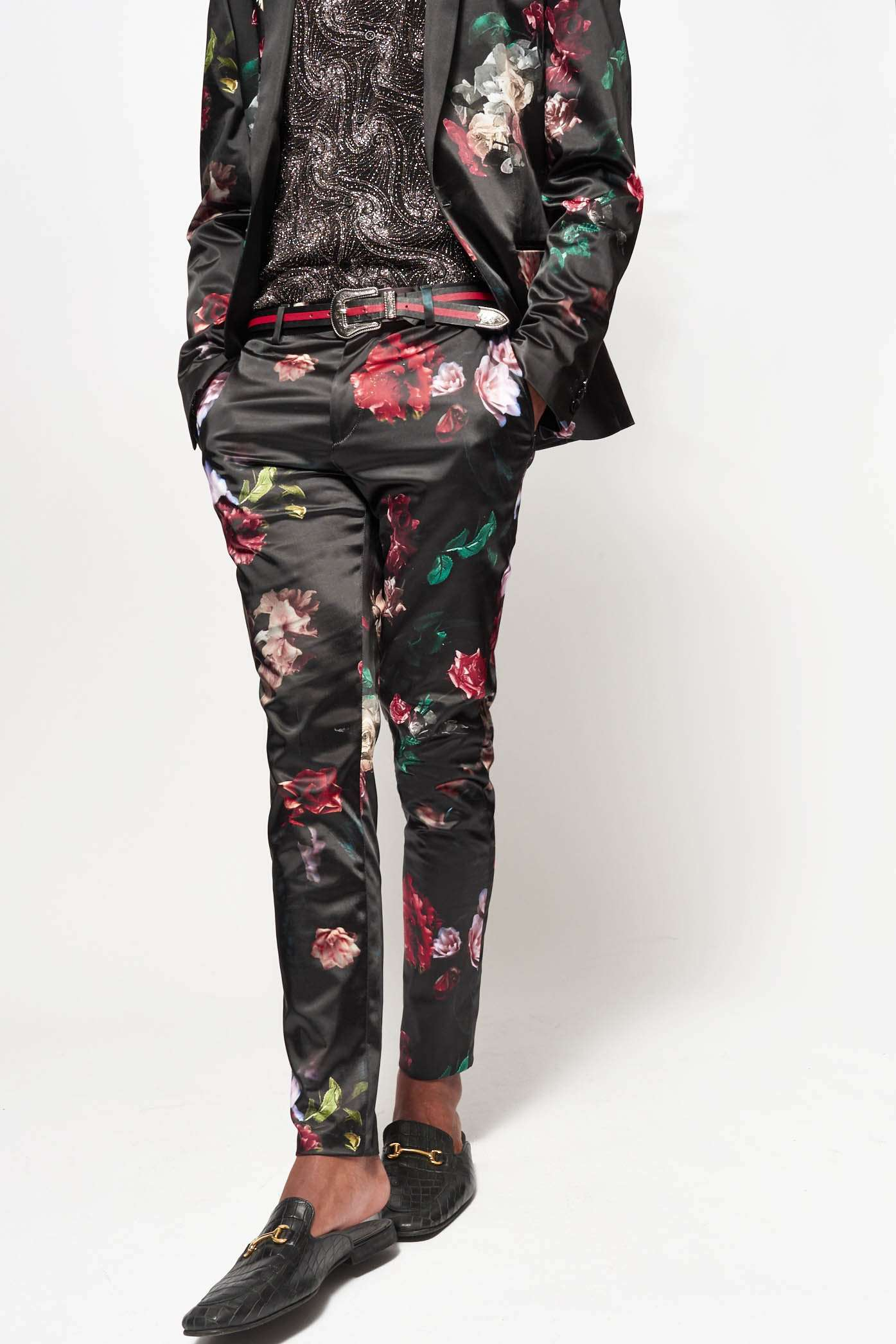 Satin Floral Suit Trousers