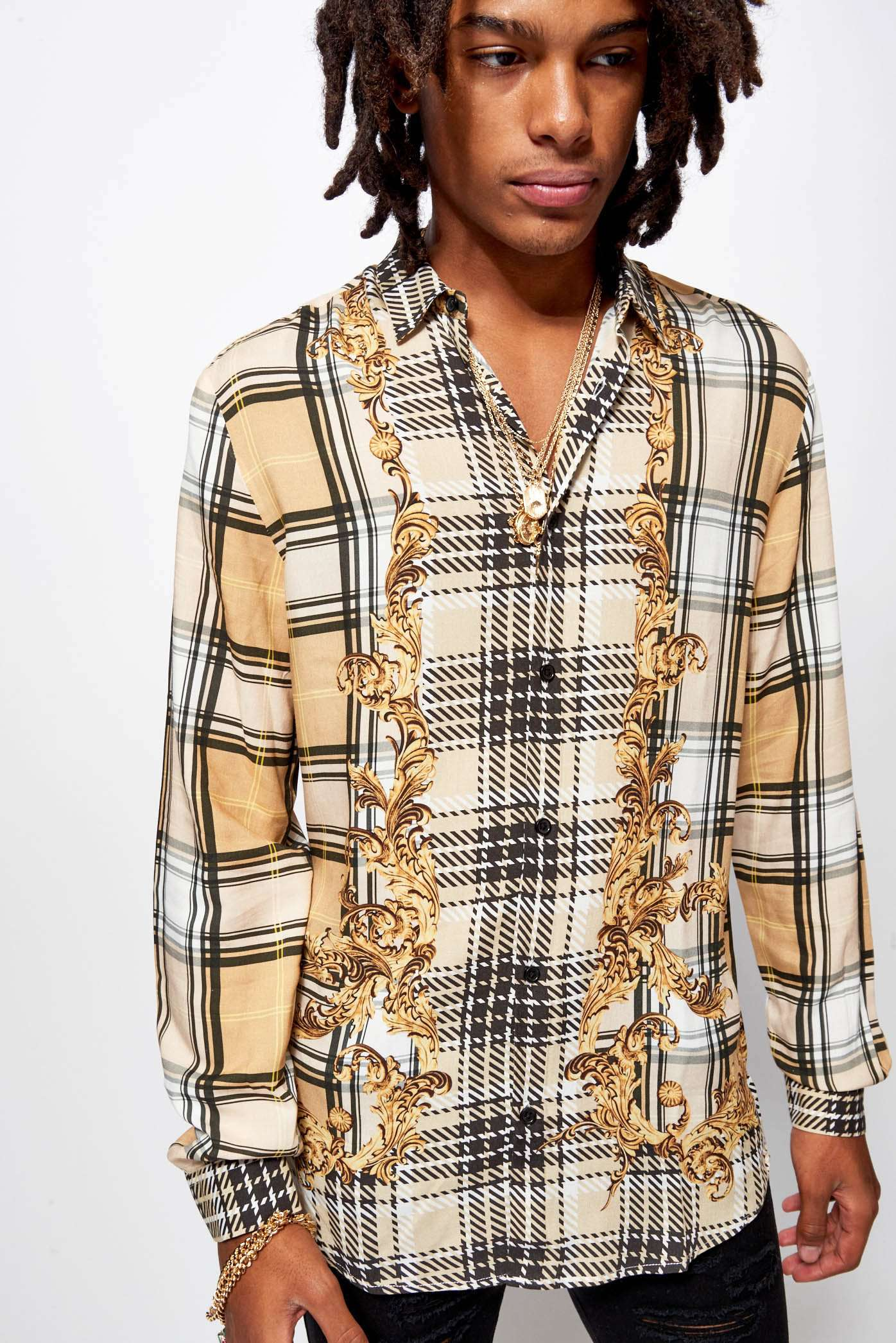 Beige Check Baroque Shirt In Viscose