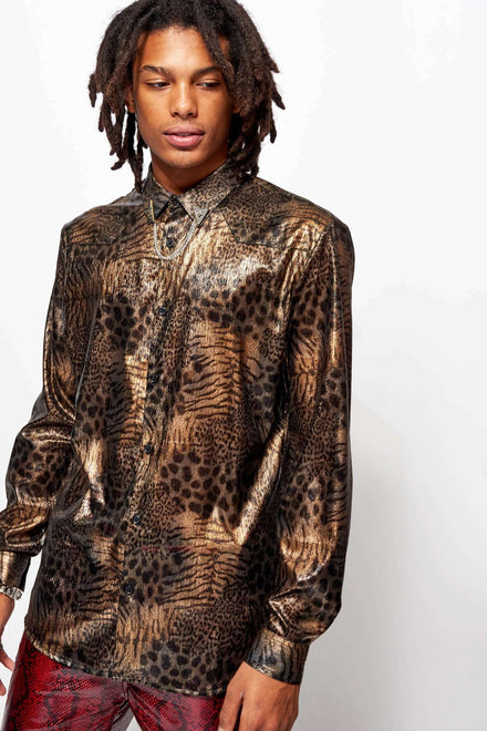 Metallic Leopard Sheer Shirt With Western Styling