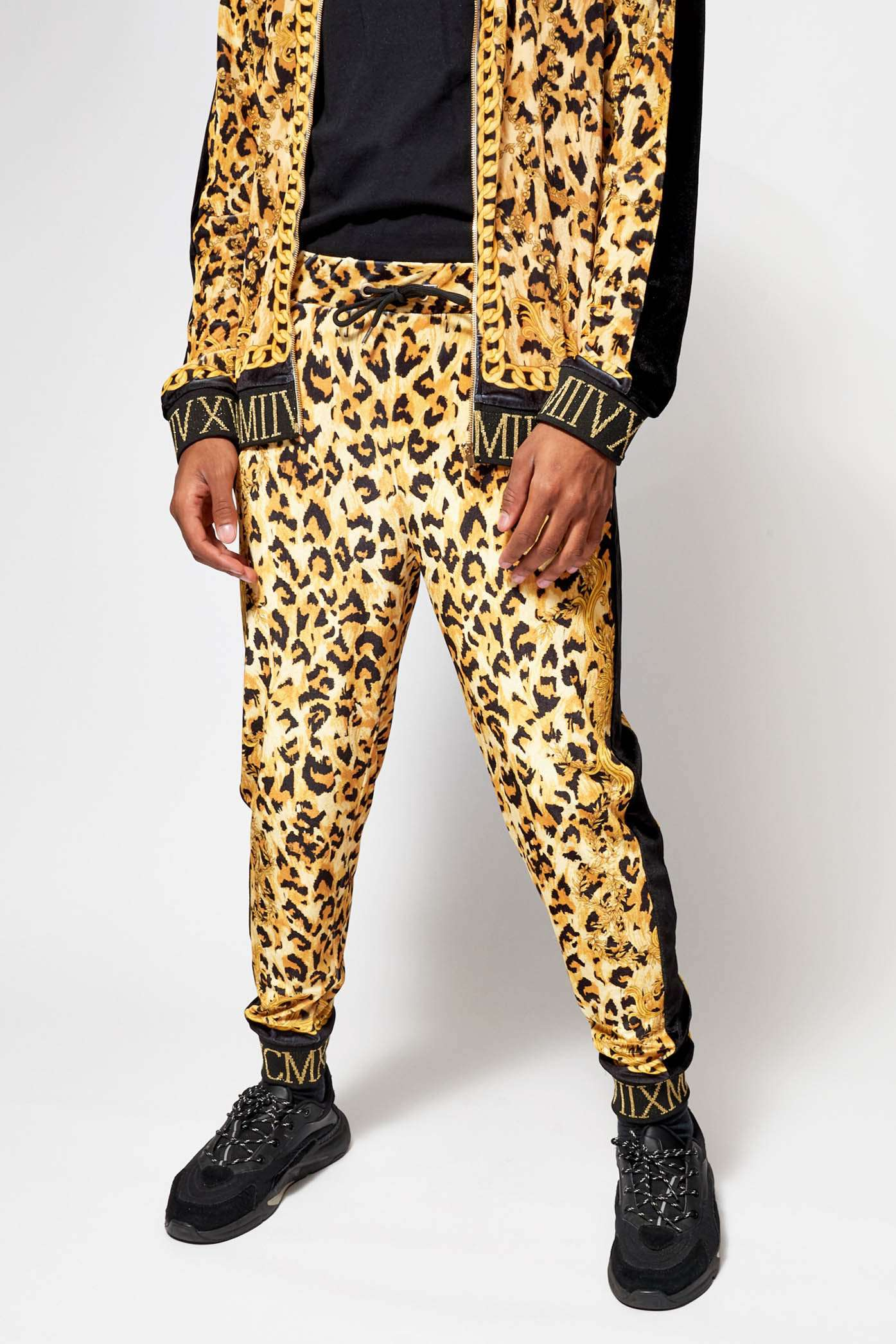 Velvet Leopard Chains Joggers With Metallic Rib