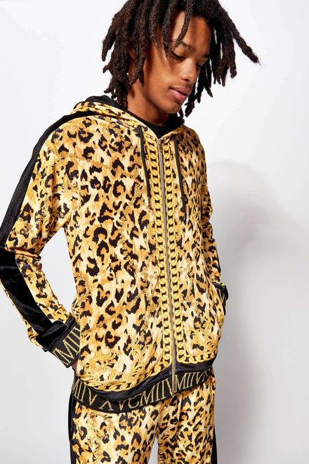 Velvet Leopard Chains Hoodie With Metallic Rib