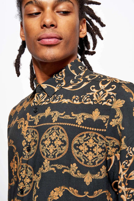 Black & Gold Long Sleeve Baroque Shirt