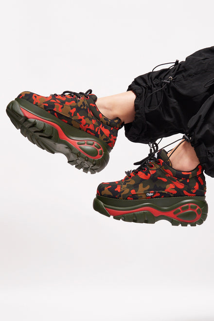 Buffalo London Camo Print Platform Trainers