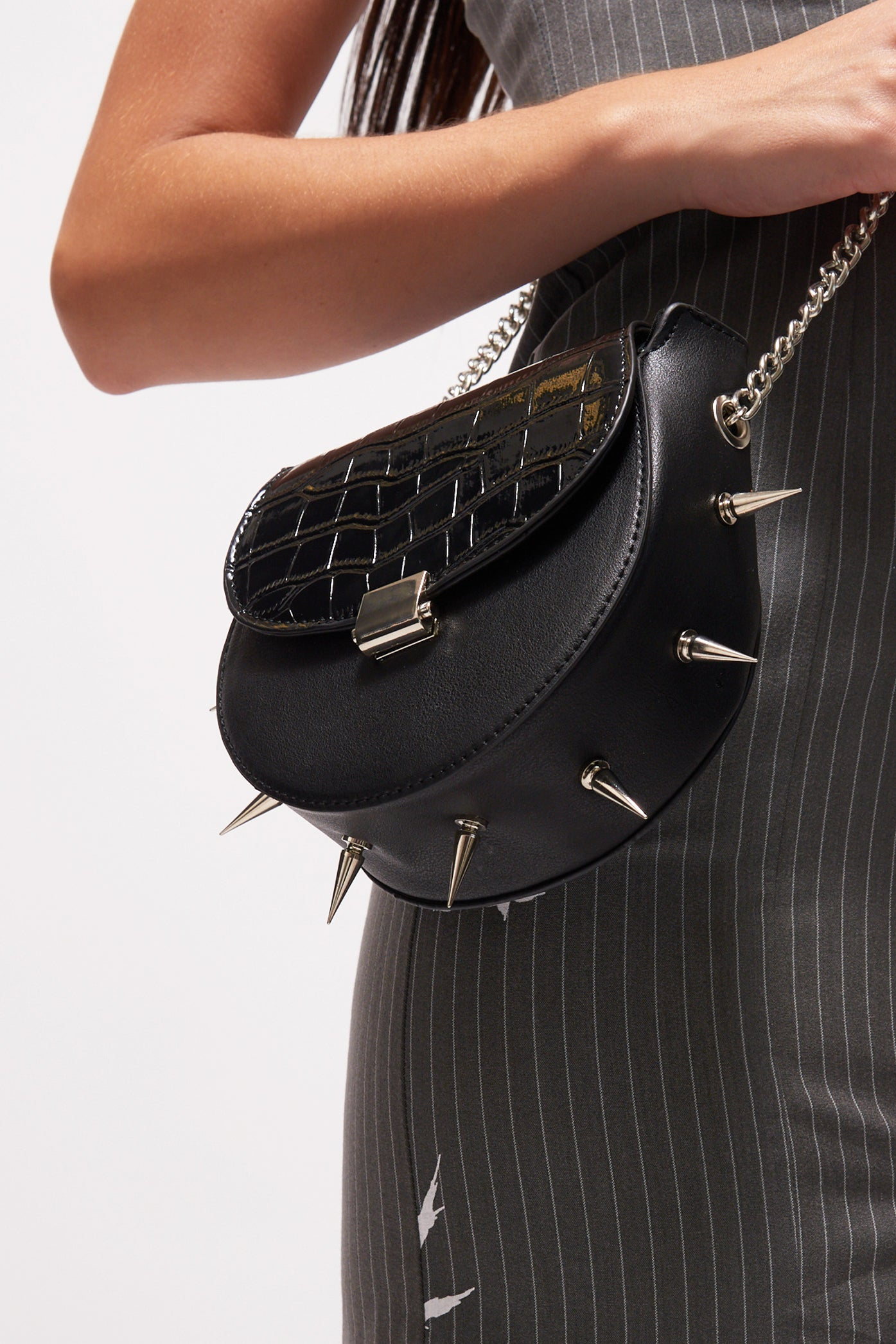 Black Spike Shoulder Bag