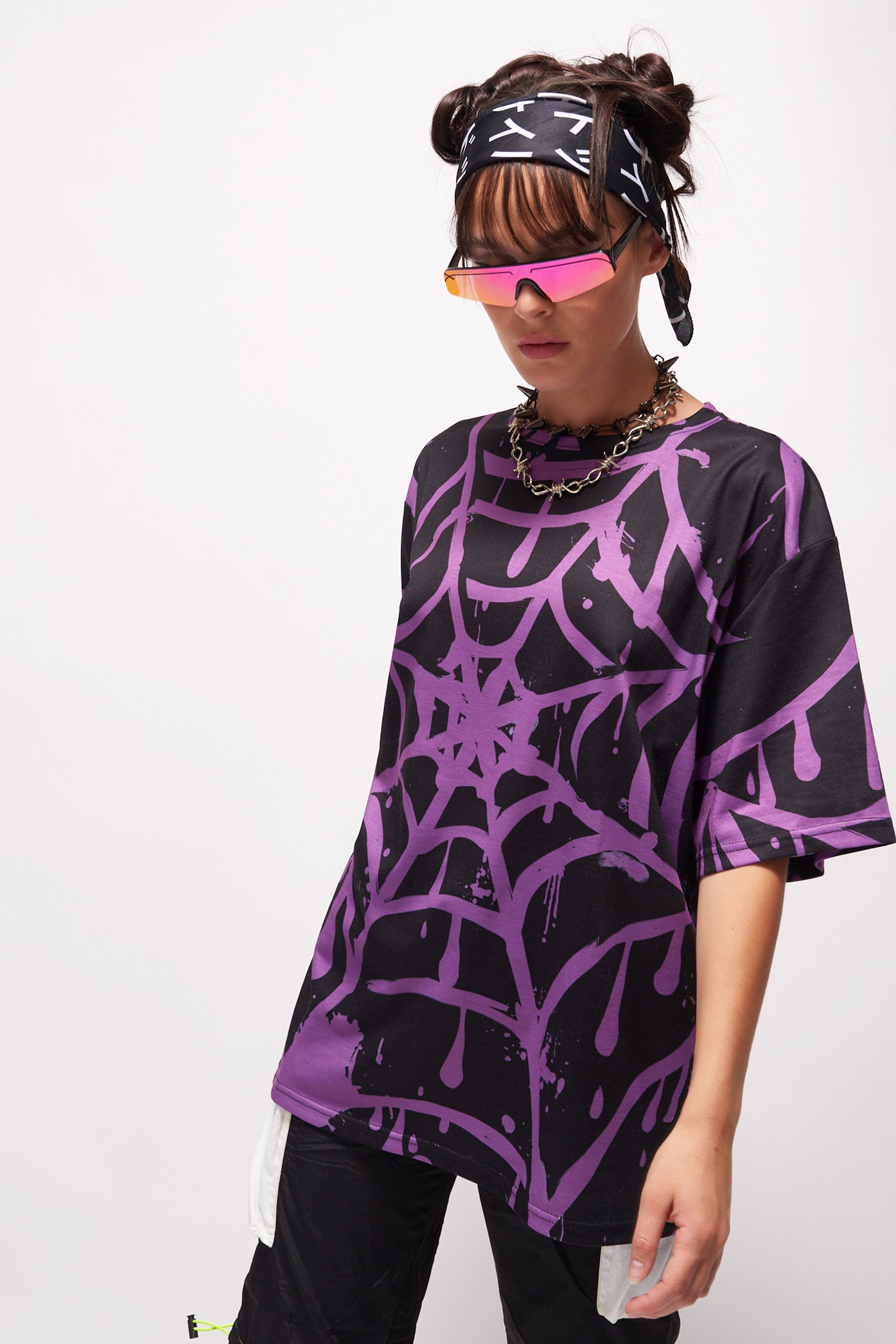 Parallel Purple Spider Web Print T-Shirt