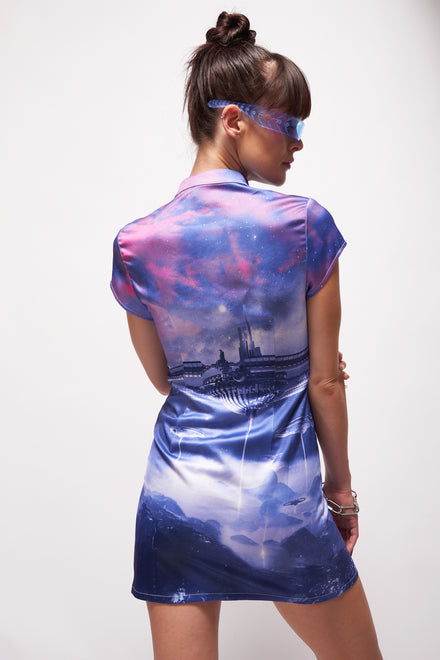 Futuristic Print Cut Out Skater Dress