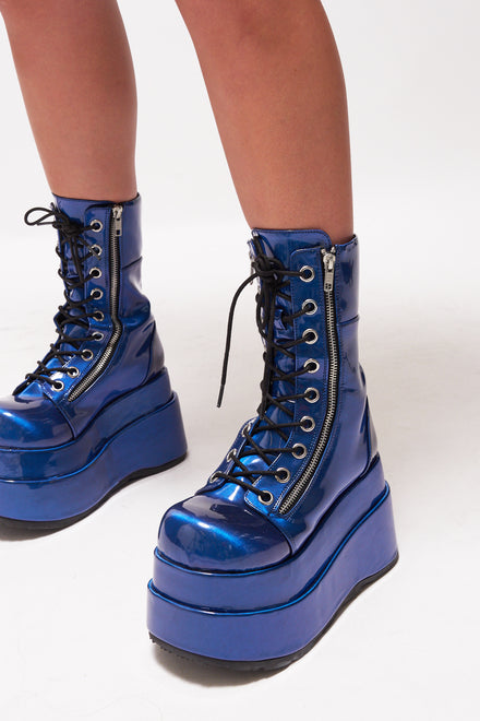Demonia Blue Patent Lace Up Boots