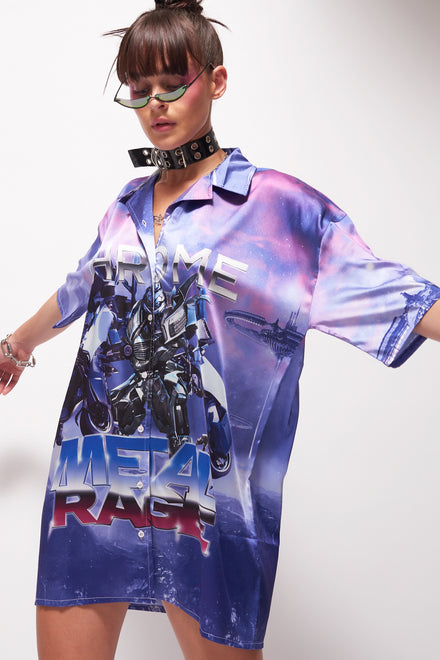 Robot Print Oversized Shirt Dress