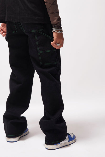 Black Skate Jeans With Contrast Neon Stitching
