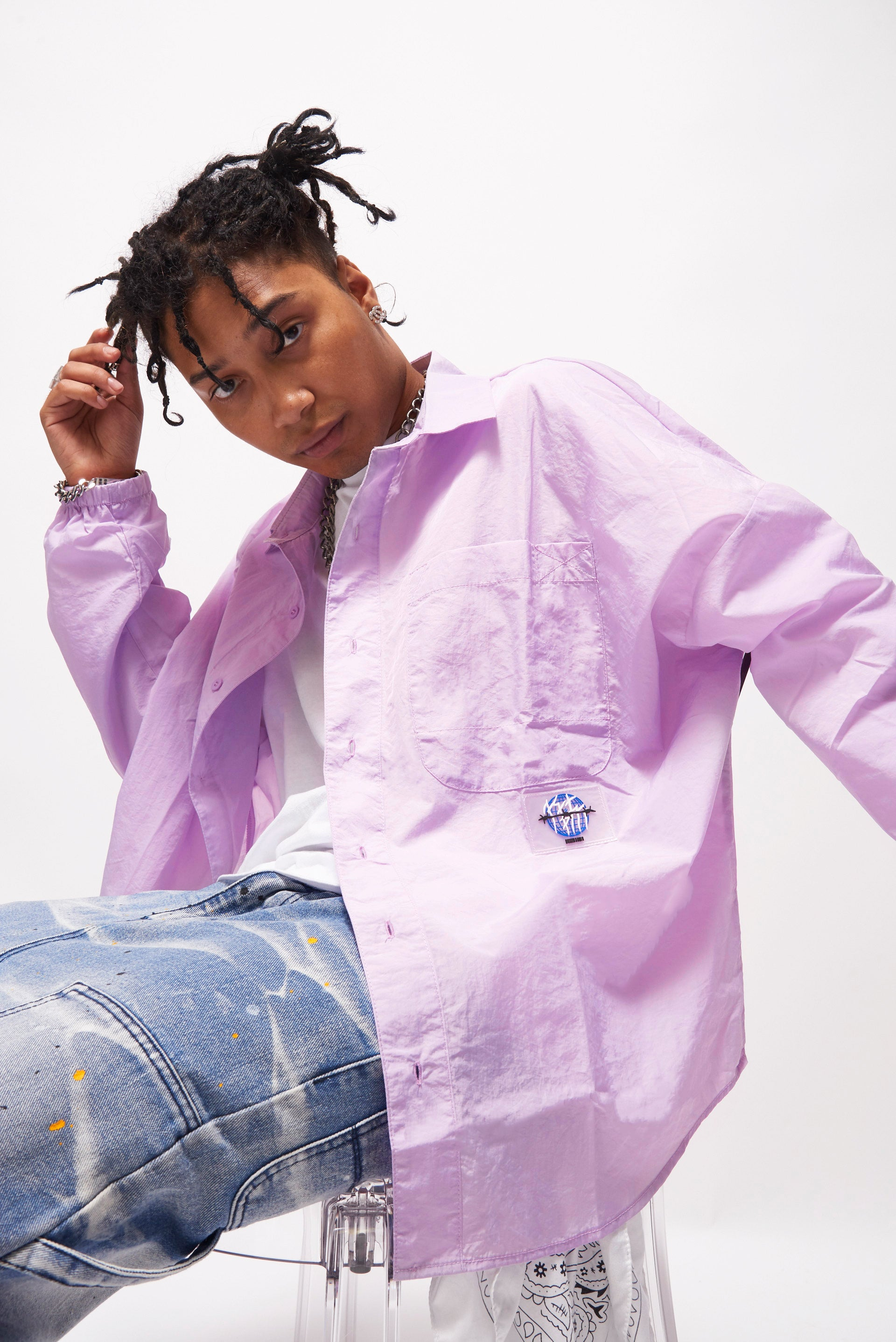 Oversized Lilac Nylon Long Sleeve Shirt