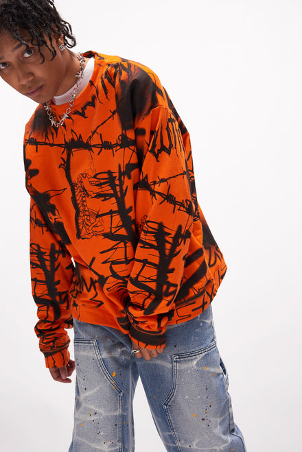 Orange & Black Graffiti Print Sweatshirt